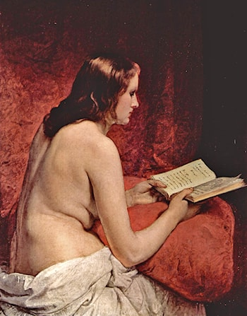 Odalisque with Book by Francesco Hayez