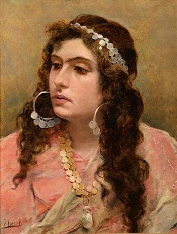 A Gypsy Lady, Head and Shoulders by Juan Joaquin Agrasot