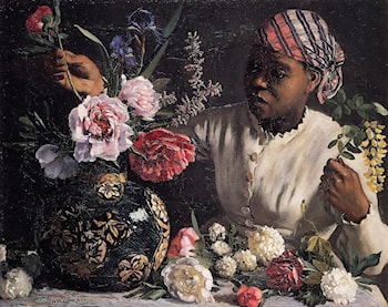 African woman with Peonies by Frederic Bazille