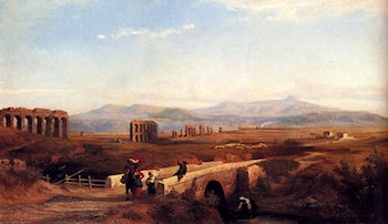 Peasants On A Bridge With Roman Ruins Beyond by Franz Knebel