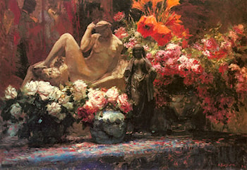 A Floral Still Life with Sculpture by Alfred Bastien