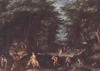 Landscape with Leto and Peasants of Lykia by Gillis van Coninxloo