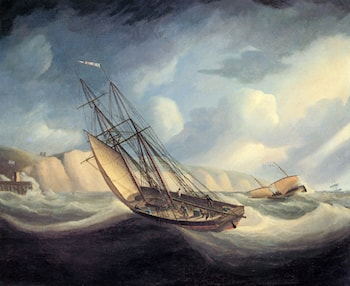The Rapid Schooner and Deal Lugger off the South Foreland by Thomas Buttersworth