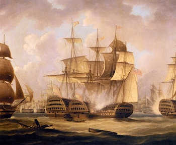 The Battle Of Cape St. Vincent, February 14, 1797, The San Nicolas And The San Josef by Thomas Buttersworth