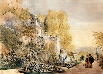 Figures On The Terraces At Powis Castle, Montgomeryshire by David Cox