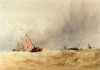 Shipping On The Sheldt, Dort Church In The Distance by David Cox