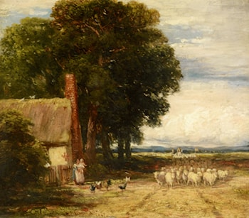 Landscape with a Shepherd and Sheep by David Cox