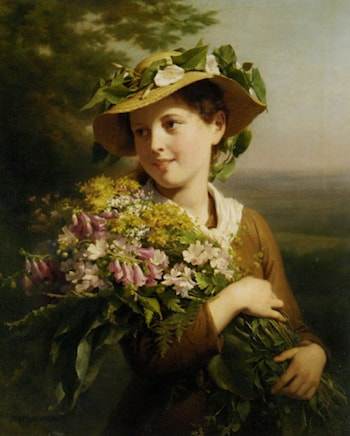 Young Beauty with Bouquet by Fritz Zuber-Buhler
