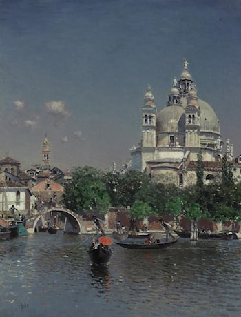 Venetian Lagoon Near the Church of Santa Maria della Salute by Martin Rico y Ortega
