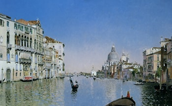 Gondola on the Grand Canal by Martin Rico y Ortega