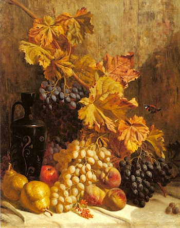 A Still Life with Grapes, Pears, Peaches, an Urn and a Butterfly by William Hughes
