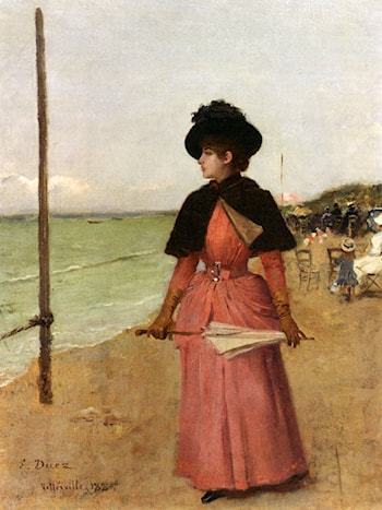 An Elegant Lady On The Beach by Ernest Ange Duez
