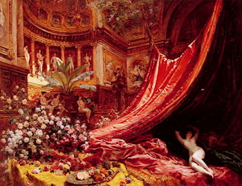 Symphony in Red and Gold by Jean Beraud