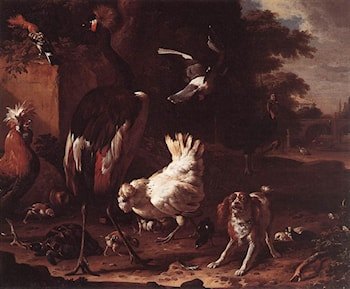 Birds and a Spaniel in a Garden by Melchior de Hondecoeter
