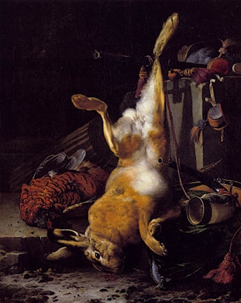 A Still Life Of Dead Game And Hunting Equipment by Melchior de Hondecoeter