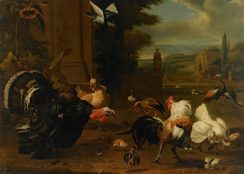 A Palace Garden with Exotic Birds and Farmyard Fowl by Melchior de Hondecoeter