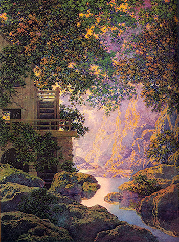 The old Glen Mill by Maxfield Parrish