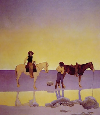 Cowboys' Hot Springs, Arizona by Maxfield Parrish