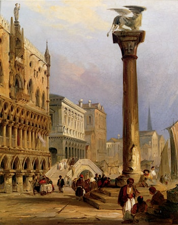 A View Of St Mark's Column, And The Doge's Palace, Venice by Edward Pritchett