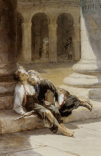 Tired Minstrels by Augustus Edwin Mulready