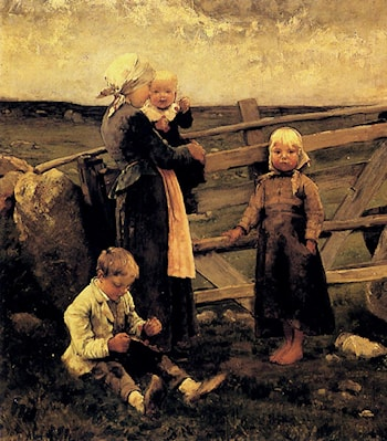 Children With Cherries by Bernardus Johannes Blommers