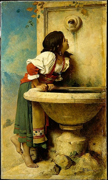 Roman Girl at a Fountain by Leon Bonnat