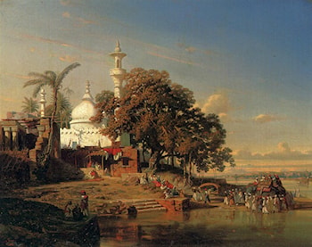 An Indian Mosque On The Hooghly River Near Calcutta by Auguste Borget