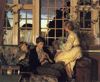 A Mother and Children by a Window at Dusk by Viggo Christian Frederick Pedersen