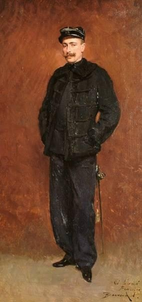 Portrait of a French soldier, full length by Pierre Bonnaud