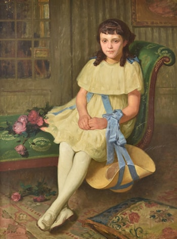 Portrait of a Young Girl Seated by Pierre Bonnaud
