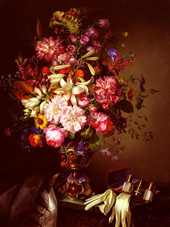 Still Life With A Vase Of Flowers And Opera Glasses by Leopold Brunner, Snr.
