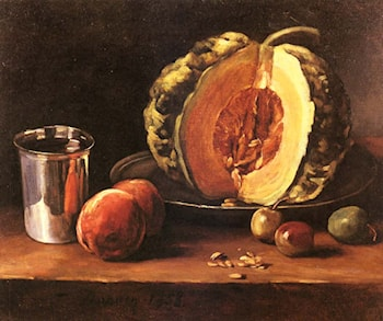 Still life with a Pumpkin, Peaches and a Silver Goblet on a Table Top by Francois Bonvin