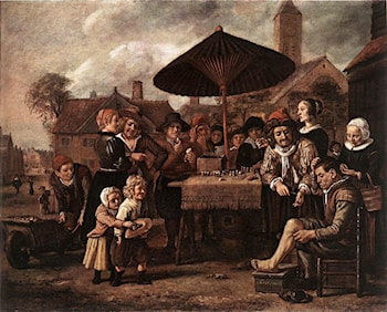 Market Scene with a Quack at his Stall by Jan Victors