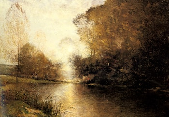 A Moonlit River Landscape with a Figure by Alfred Wahlberg