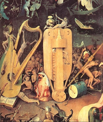Garden of Earthly Delights, detail of right wing by Hieronymus Bosch