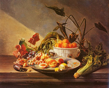 A Still Life With Fruit And Vegetables On A Table by David Emile Joseph de Noter