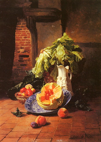 A Still Life With A White Porcelain Pitcher, Fruit And Vegetables by David Emile Joseph de Noter