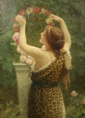 Woman with a Floral Wreath in a Leopard Dress by Charles Edward Perugini