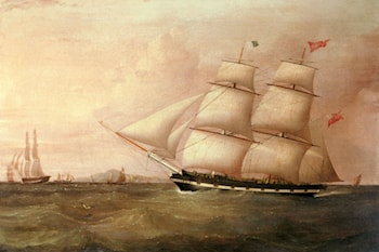 The Brig Rapid Inward Bound For Liverpool Off Point Lynas by Joseph Heard