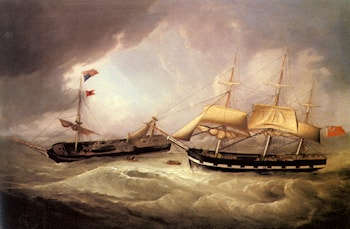 Passengers from the Dismasted U.S. Merchantman Troope being rescued by a British Merchantman by Joseph Heard