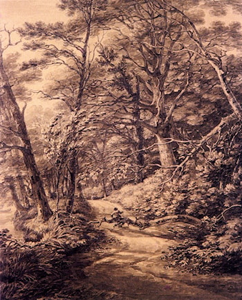 a Man Seated On A Fallen Branch On A Woodland Path by Thomas Hearne