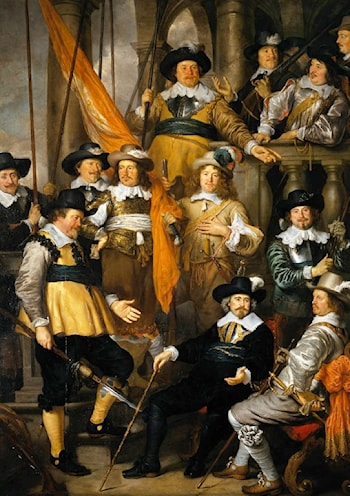 The Company of Cpt. Aelbert Bas and Lt. Lucas Conijn by Govert Teunisz Flinck
