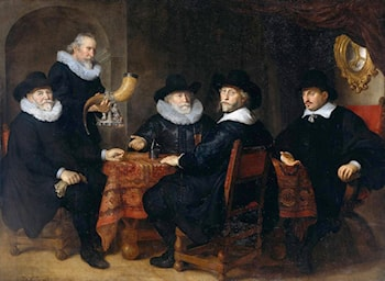 Four Governors of the Arquebusiers' Civic Guard by Govert Teunisz Flinck