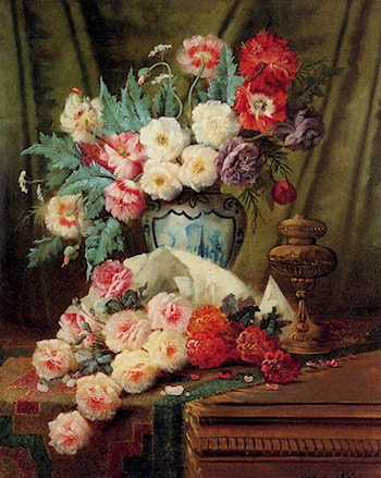 Still Life Of Roses And Other Flowers On A Draped Table by Modeste Carlier