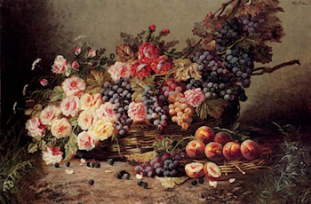 Still Life Of Roses, Peaches And Grapes In A Basket by Modeste Carlier