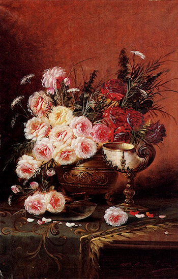 Still Life Of Roses And A Nautilus Cup On A Draped Table by Modeste Carlier