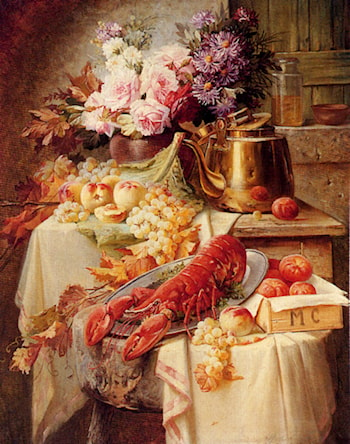 Still Life With A Lobster And Assorted Fruit And Flowers by Modeste Carlier