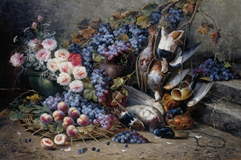 Roses Peaches Grapes and Game by Modeste Carlier