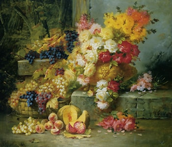 Still Life with Grapes by Modeste Carlier