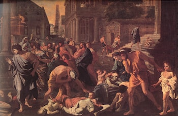 The Plague of Ashdod ­ detail by Nicolas Poussin